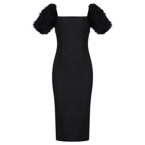 Catherine Midi Black Mesh Sleeve Dress