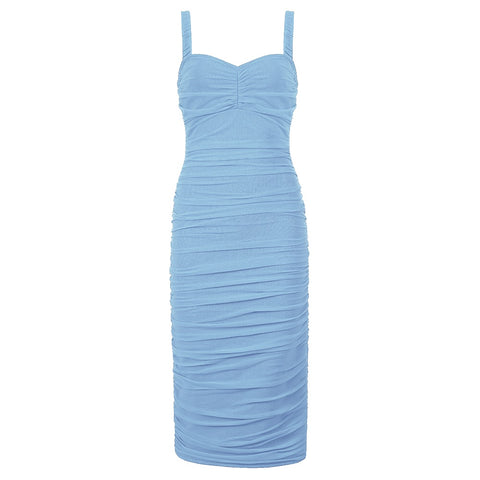 Adalyn Midi Spaghetti Strap Dress- Light Blue