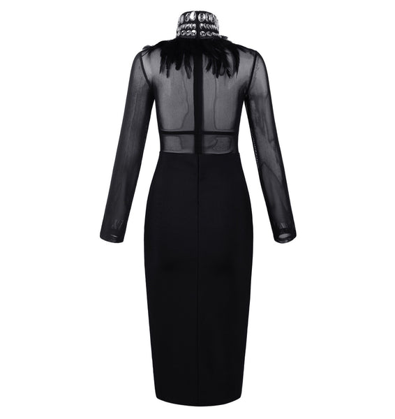 Thylane Black Long Sleeve High Neck Bandage Dress