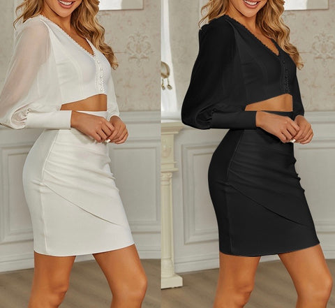 Adelaide White Two Piece Bandage Dress with Mesh Long Sleeve