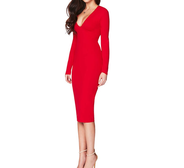 Andi Red Open Back Long Sleeve Dress