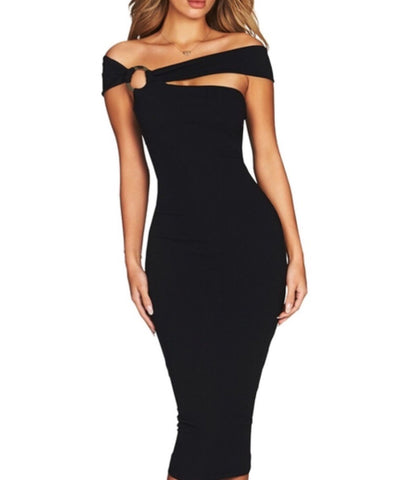 Jennie Black Asymmetric Midi Bandage Dress