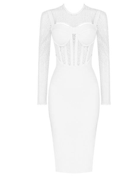 Sienna White Long Sleeve Lace Midi Dress with Front Detail