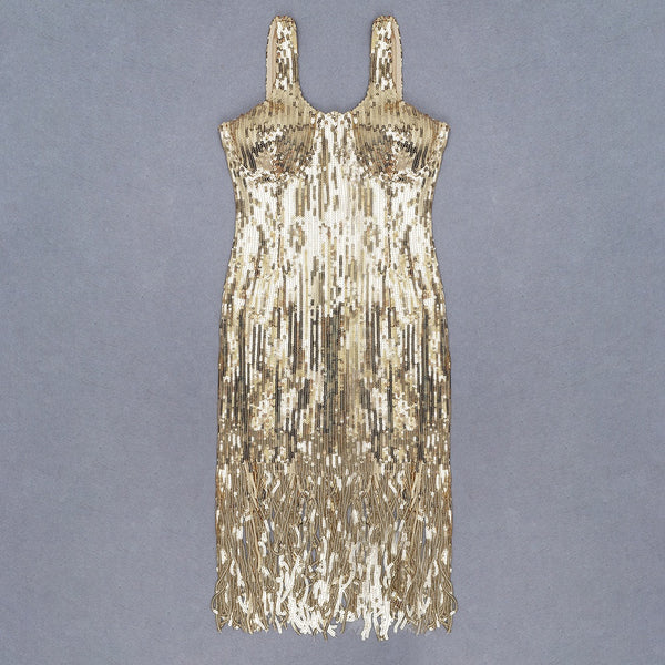 Rhenee Gold Sequins Bustier Tassel Midi Dress