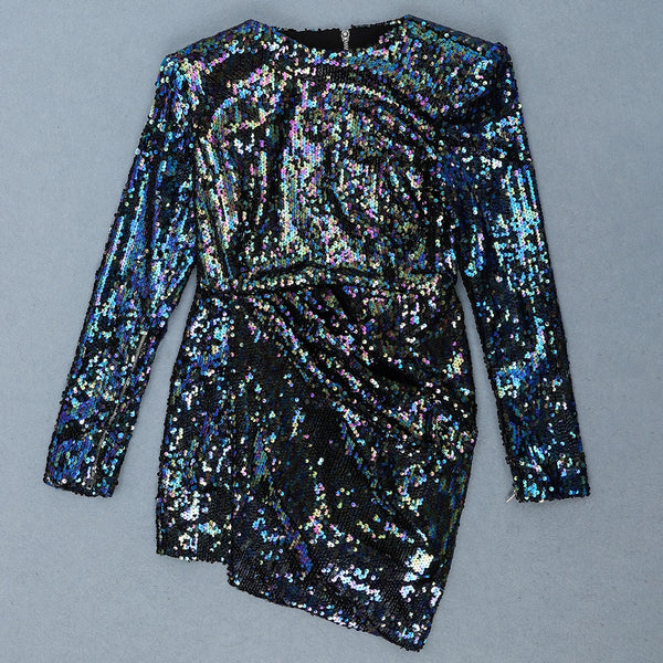 Chloey Long Sleeve Chic Sparkly Mini Dress