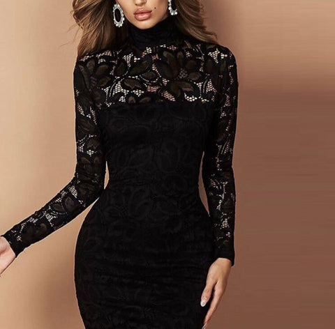 Shayne High Neck Long Sleeve Lace Dress