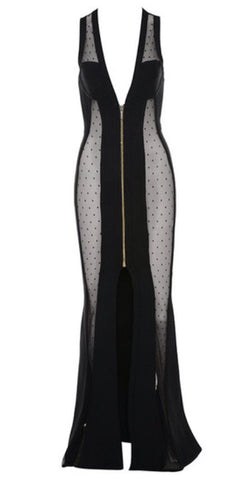 Alexa Black Mesh Maxi Dress