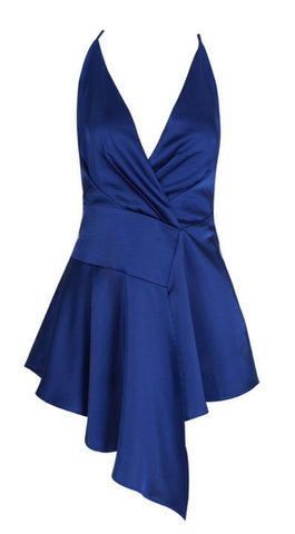 Adalyn Navy Blue Draped Slip Dress
