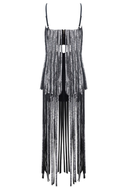 Fatma Black Sleeveless Maxi Tassel Bandage Dress