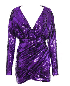 Raelynn Purple V Neck Sequins Mini Long Sleeve Dress