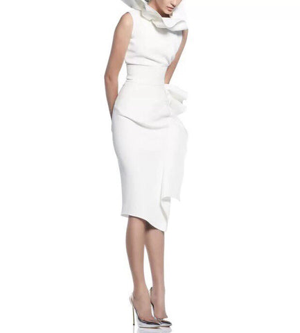Delaney White Knee Length Skirt