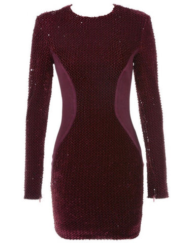 Apryl Sequin Mini Long Sleeve Dress