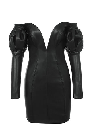 Dakota Sexy Black Off Shoulder Leatherette Mini Dress