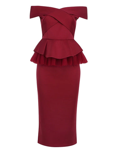 Dehlia Burgundy Bardot Midi Two Piece Dress