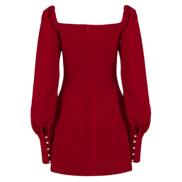 Ivy Red Puff Sleeve Short Dress