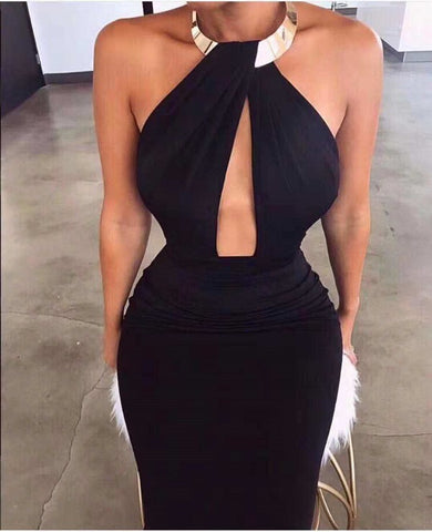 Donisha Black Deep V-Neck Halter Bandage Dress