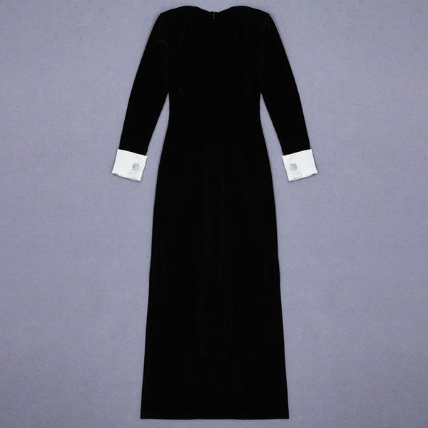 Aitana Long Sleeve Black Maxi Velvet Dress with High Slit