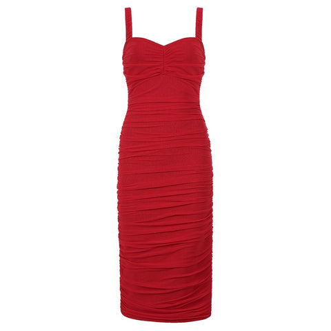 Adalyn Midi Spaghetti Strap Dress- Red