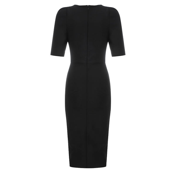 Danielle Black Square Neck Short Sleeve Midi Dress