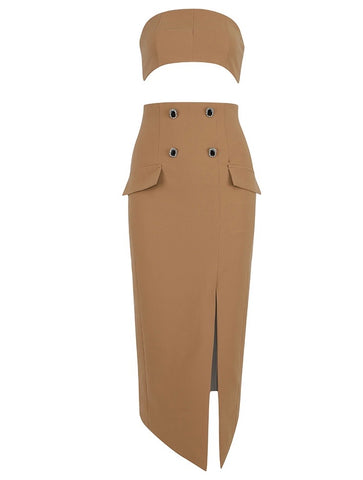 Olivia Beige Two Piece Crop Top Midi Dress