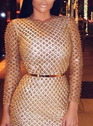 Ireen Gold Long Sleeve Dress