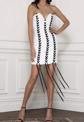 Yanika White Strapless Bandage Dress