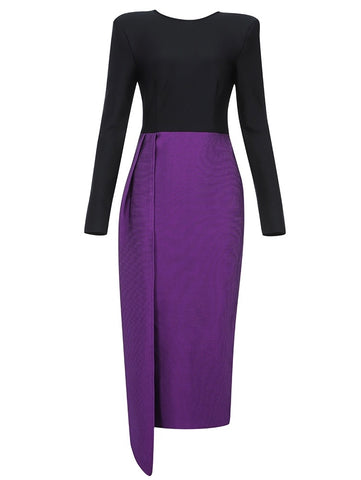 Lillian Black Purple Asymmetric Midi Dress