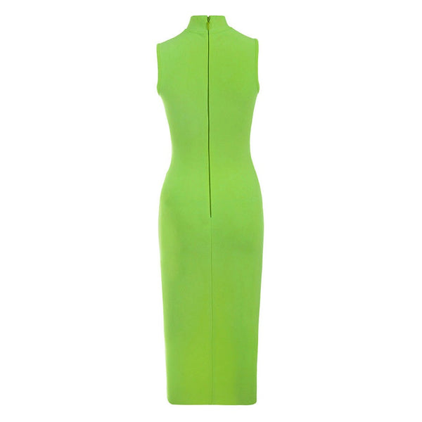 Madilyn Green Sleeveless Midi Bandage Dress