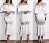 Asin White Off Shoulder Maxi Dress