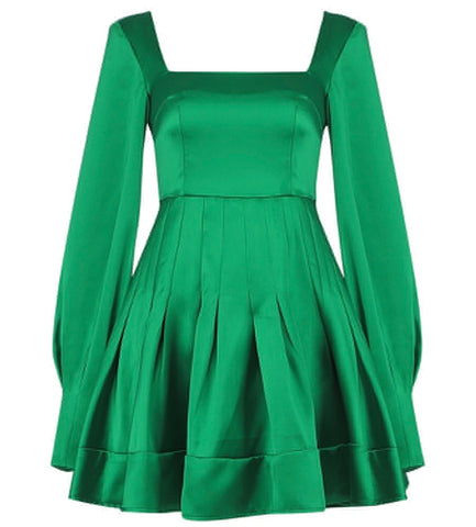 Harper Long Sleeve Green Mini Dress