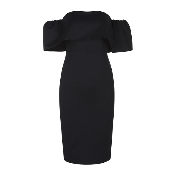 Acel Black Off Shoulder Midi Dress