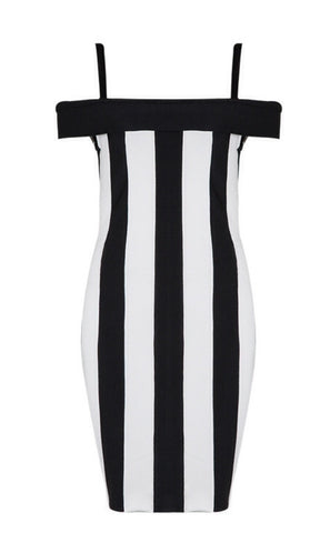 Black and White Striped Off Shoulder Bandage Dress