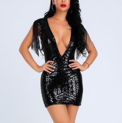 Machelle Black Tassel V-Neck Sequin Bandage Dress