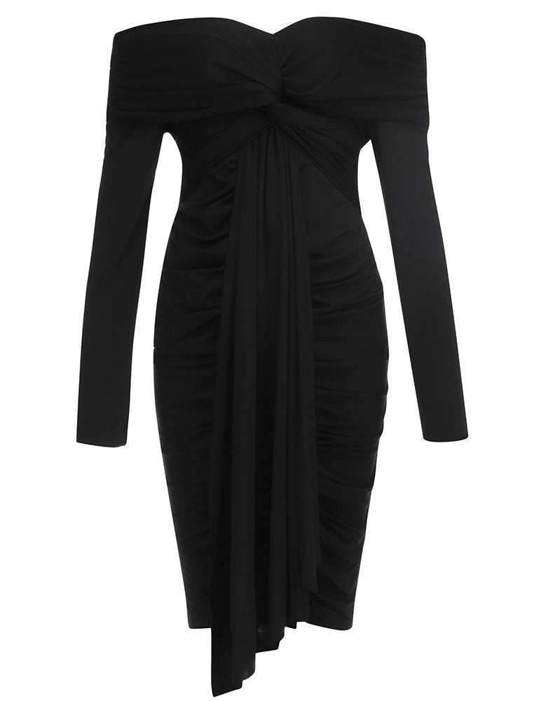 Rylee Black Long Sleeve Bardot Midi Dress