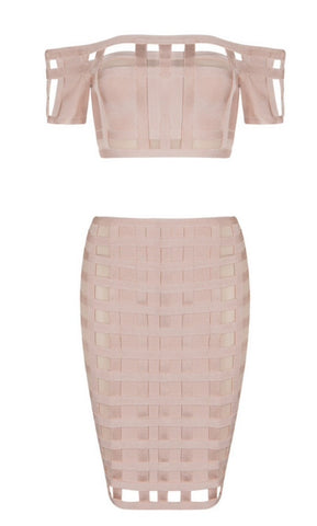 Lilyanne Nude Caged Two Piece Bandage Dress