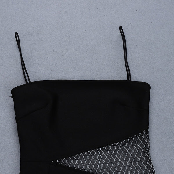 Kenzie Black Sexy Mesh Insert Bandage Dress