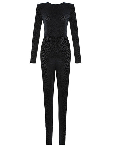 Brooklyn Animal Print Velvet Long Sleeve Black Jumpsuit