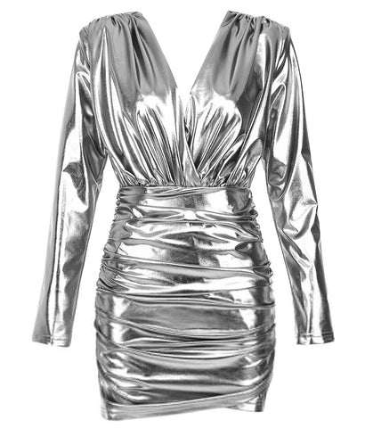 Mila Sliver Long Sleeve Mini Metallic Dress
