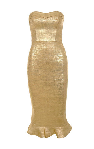 Anneke Gold Strapless Bandage Dress