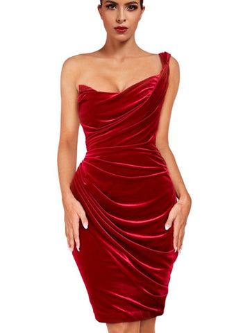 Maeve Red One Shoulder Asymmetrical Mini Wrinkled Dress