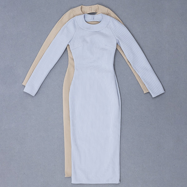 Lora Beige High Neck Long Sleeve Open Back Dress