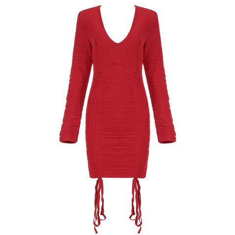 Rilee Red V Neck Long Sleeve Mini Wrinkled Dress