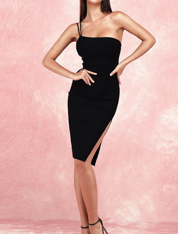 Alyson Black Sexy Asymmetric Straps Party Dress
