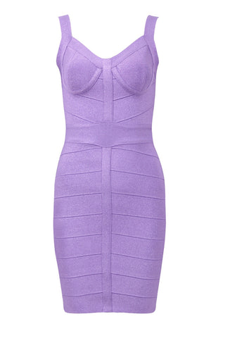 Zaria Purple Shiny Mini Bandage Dress