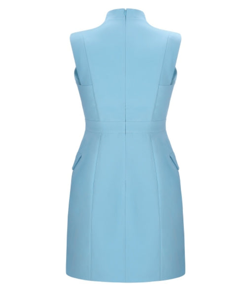 Farah Light Blue V Neck Mini Dress