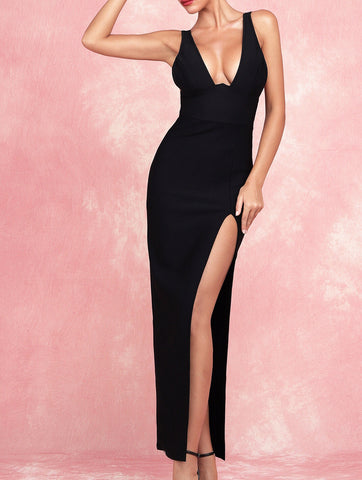 Aislinn Black Plunge V Neck Maxi Dress