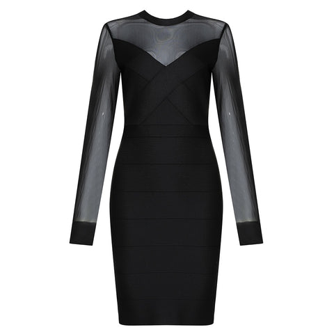 Melody Black Mesh Long Sleeve Mini Bandage Dress