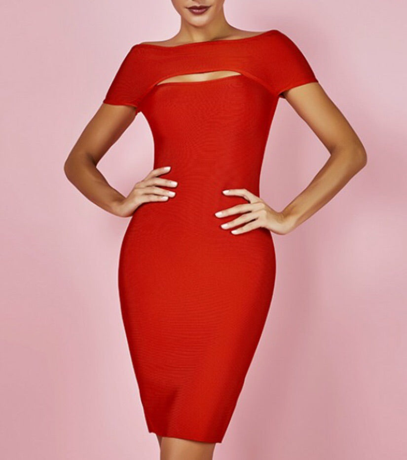 Selita Red Off Shoulder Mini Bandage Dress