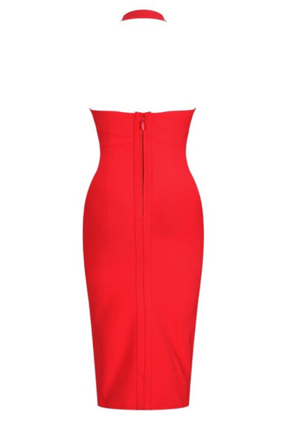 Abena Deep V Neck Red Halter Bandage Dress