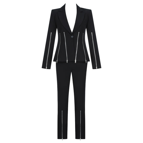 Annastasia Black Two Piece Suit with Zip Details